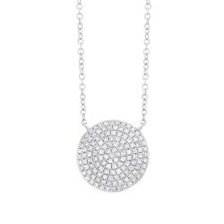 Madison E 0.37ct 14k White Gold Diamond Pave Circle Necklace