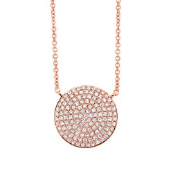 Madison E 0.37ct 14k Rose Gold Diamond Pave Circle Necklace
