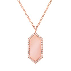 Madison E 0.09ct 14k Rose Gold Diamond Bar ID Necklace