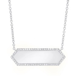 Madison E 0.12ct 14k White Gold Diamond Bar ID Necklace