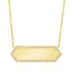 Madison E 0.12ct 14k Yellow Gold Diamond Bar ID Necklace