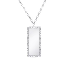 Madison E 0.11ct 14k White Gold Diamond Bar ID Pendant