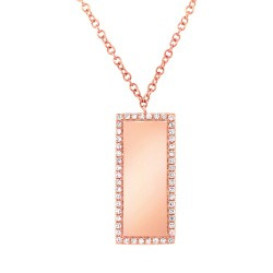 Madison E 0.11ct 14k Rose Gold Diamond Bar ID Pendant