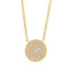 Madison E 0.15ct 14k Yellow Gold Diamond Pave Circle Pendant