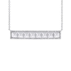 Madison E 0.23ct 14k White Gold Diamond Bar Necklace