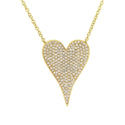 Madison E 0.43ct 14k Yellow Gold Diamond Heart Necklace