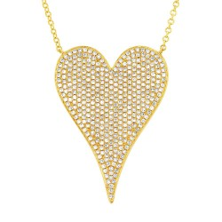 Madison E 0.83ct 14k Yellow Gold Diamond Heart Necklace