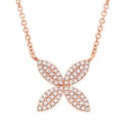 Madison E 0.20ct 14k Rose Gold Diamond Flower Pendant