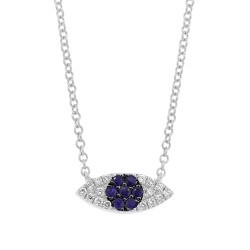 Madison E 0.07ct Diamond & 0.11ct Blue Sapphire 14k White Gold Eye Necklace