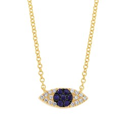 Madison E 0.07ct Diamond & 0.11ct Blue Sapphire 14k Yellow Gold Eye Necklace