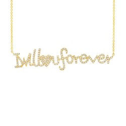 "Madison E 0.46ct 14k Yellow Gold ""I will love u forever"" Diamond Pendant"