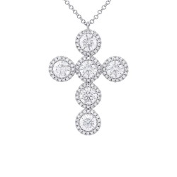 Madison E 2.46ct 14k White Gold Diamond Cross Necklace
