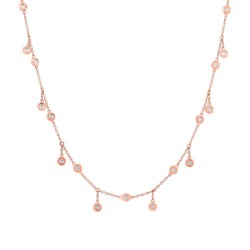 Madison E 1.85ct 14k Rose Gold Diamond Shaker Necklace