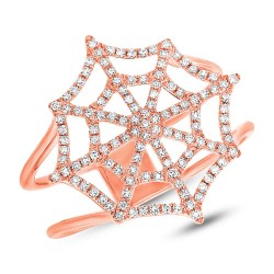 Madison E 0.32ct 14k Rose Gold Diamond Spider Web Ring