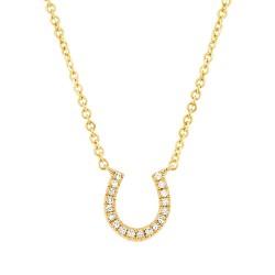 Madison E 0.06ct 14k Yellow Gold Diamond Horseshoe Pendant