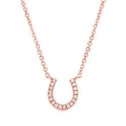 Madison E 0.06ct 14k Rose Gold Diamond Horseshoe Pendant