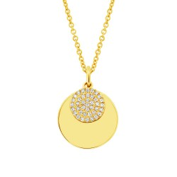 Madison E 0.09ct 14k Yellow Gold Diamond Circle Necklace