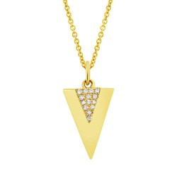 Madison E 0.03ct 14k Yellow Gold Diamond Triangle Pendant
