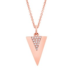 Madison E 0.03ct 14k Rose Gold Diamond Triangle Necklace