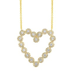 Madison E 1.15ct 14k Yellow Gold Diamond Heart Necklace