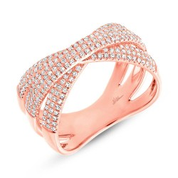 Madison E 0.60ct 14k Rose Gold Diamond Pave Bridge Ring