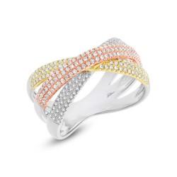 Madison E 0.60ct 14k Three-tone Gold Diamond Pave Bridge Ring