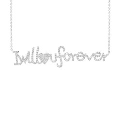 "Madison E 0.46ct 14k White Gold ""I will love u forever"" Diamond Pendant"