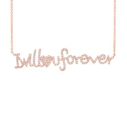 "Madison E 0.46ct 14k Rose Gold ""I will love u forever"" Diamond Pendant"
