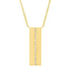 Madison E 0.06ct 14k Yelllow Gold Diamond Bar Pendant