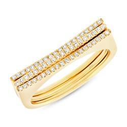 Madison E 0.18ct 14k Yellow Gold Diamond Puzzle Ring 2-pc