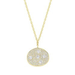 Madison E 0.54ct 14k Yellow Gold Diamond Pave Oval Necklace