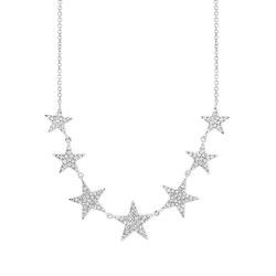 Madison E 0.35ct 14k White Gold Diamond Star Necklace