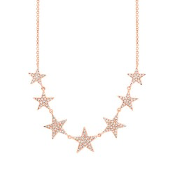 Madison E 0.35ct 14k Rose Gold Diamond Star Necklace