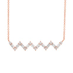 Madison E 0.38ct 14k Rose Gold Diamond Baguette Necklace