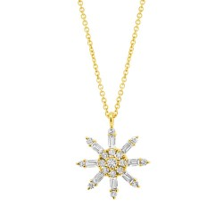 Madison E 0.33ct 14k Yellow Gold Diamond Baguette Necklace