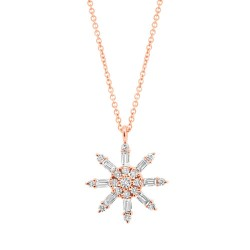 Madison E 0.33ct 14k Rose Gold Diamond Baguette Necklace