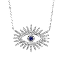 Madison E 0.30ct Diamond & 0.07ct Blue Sapphire 14k White Gold Eye Necklace