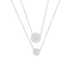 Madison E 0.16ct 14k White Gold Diamond Pave Circle Necklace