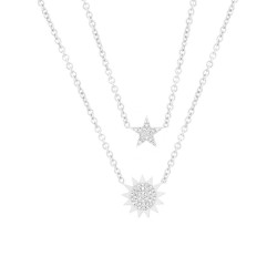 Madison E 0.14ct 14k White Gold Diamond Pave Sun & Star Necklace