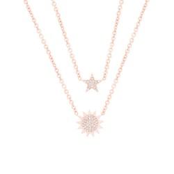Madison E 0.14ct 14k Rose Gold Diamond Pave Sun & Star Necklace