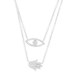 Madison E 0.24ct 14k White Gold Diamond Eye & Hamsa Necklace