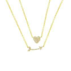Madison E 0.18ct 14k Yellow Gold Diamond Heart & Arrow Necklace