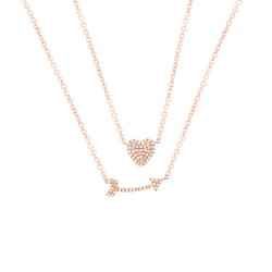 Madison E 0.18ct 14k Rose Gold Diamond Heart & Arrow Necklace
