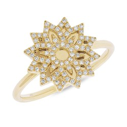 Madison E 0.19ct 14k Yellow Gold Diamond Snowflake Lady