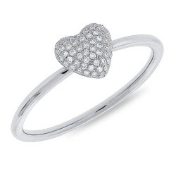 Madison E 0.11ct 14k White Gold Diamond Pave Heart Ring