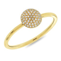 Madison E 0.11ct 14k Yellow Gold Diamond Pave Circle Ring