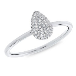 Madison E 0.13ct 14k White Gold Diamond Pave Pear Ring