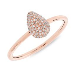 Madison E 0.13ct 14k Rose Gold Diamond Pave Pear Ring