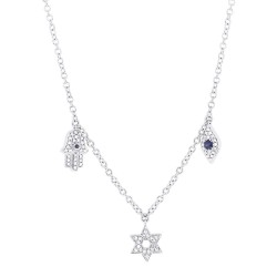 Madison E 0.15ct Diamond & 0.06ct Blue Sapphire 14k White Gold Hamsa Star Eye Necklace