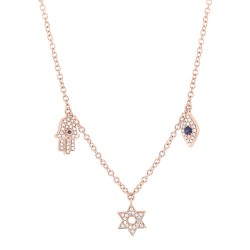 Madison E 0.15ct Diamond & 0.06ct Blue Sapphire 14k Rose Gold Hamsa Star Eye Necklace